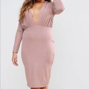 Misguided Plunge Bodycon Midi Dress